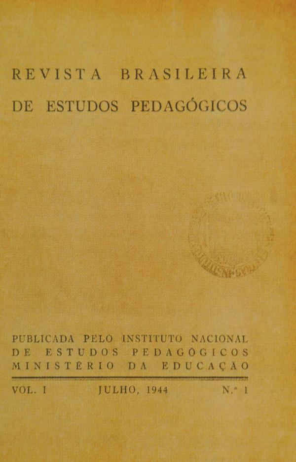Revista Brasileira de Estudos Pedagógicos V. 1, Nº 1 Julho de 1944